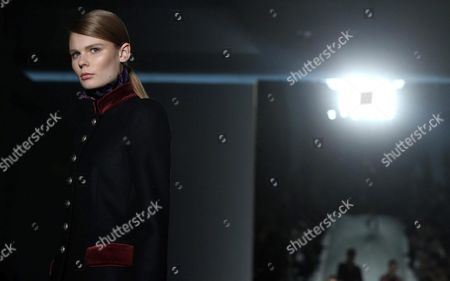 Estonian Model Alexandra Elizabeth Ljadov Presents a Creation by Fay During the Milan Fashion Week in Milan Italy 24 February 2016 the Fall-winter 2016/2017 Women's Collections Are Presented at the Milano Moda Donna From 24 to 29 February Italy Milan