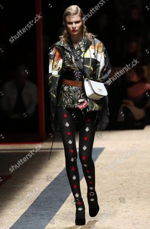 Estonian Model Alexandra Elizabeth Ljadov Presents a Creation by Italian Fashion House Prada During the Milan Fashion Week in Milan Italy 25 February 2016 the Fall-winter 2016/2017 Women's Collections Are Presented at the Milano Moda Donna From 24 to 29 February Italy Milan