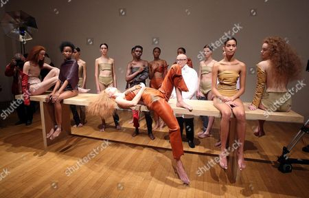 Us Model Karlie Kloss (front C) Lays on a Table Surrounded by Other Models Wearing Creations by Tod's During a Performance Conceived by Italian Artist Vanessa Beecroft Entitled 'Vb Handmade' at the Pac Contemporary Art Museum During the Milan Fashion Week in Milan Italy 26 February 2016 the Fall-winter 2016/2017 Women's Collections Are Presented at the Milano Moda Donna From 24 to 29 February Italy Milan
