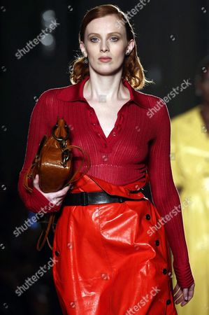 Stock Photo of British Model Karen Elson Presents a Creation From the Spring/summer 2017 Collection by Italian Fashion House Bottega Veneta During the Milan Fashion Week in Milan Italy 24 September 2016 the Women's Collections Are Presented at the Milano Moda Donna From 21 to 26 September Italy Milan