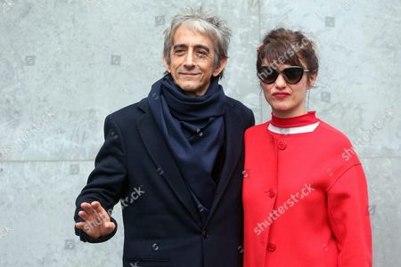 Italian Actor-director Sergio Rubini (l) Poses with Carla Cavalluzzi Before the Presentation of the Fall/winter 2016/2017 Menswear Collection of Italian Designer Giorgio Armani During the Milan Men's Fashion Week in Milan Italy 19 January 2016 the Milano Moda Uomo Runs From 15 to 19 January Italy Milan
