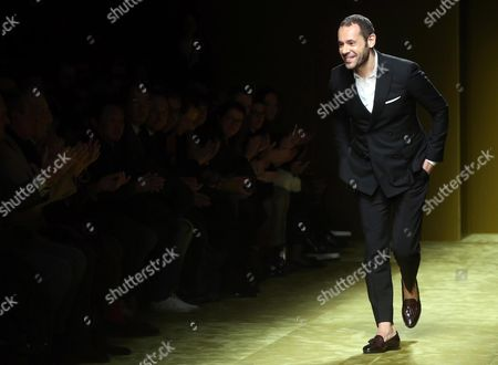 The Fashion Designer Massimiliano Giornetti Greets at the End of the Autumn/winter 2016/2017 Menswear Collection of Salvatore Ferragamo During the Milan Men's Fashion Week in Milan Italy 17 January 2016 the Milano Moda Uomo Runs From 15 to 19 January Epa/matteo Bazzi Italy Milan