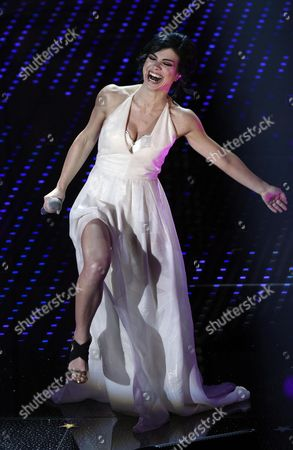 Italian Singer Dolcenera Performs on Stage During the Sanremo Italian Song Festival at the Ariston Theater in Sanremo Italy 11 February 2016 the 66th Festival Della Canzone Italiana Runs From 09 to 13 February Italy Sanremo