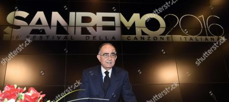 Rai1 Director Giancarlo Leone Attends a Press Conference After the 66th Festival of the Italian Song of San Remo in Sanremo Italy 14 February 2016 the Closing Ceremony of the 66th Edition of the Television Song Contest Took Place on 13 February Italy Sanremo
