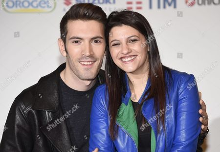 Italian Singers Giovanni Caccamo (l) and Deborah Iurato Arrive For a Photocall at the 66th Festival of the Italian Song of San Remo in Sanremo Italy 12 February 2016 the 66th Edition of the Television Song Contest Runs From 09 to 13 February Italy Sanremo