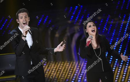 Italian Singers Giovanni Caccamo and Deborah Iurato (r) Perform on Stage at the Closing Ceremony During the 66th Festival of the Italian Song of San Remo in Sanremo Italy Late 13 February 2016 Italy Sanremo