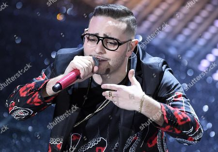 Italian Singer Rocco Hunt Performs at the Closing Ceremony During the 66th Festival of the Italian Song of San Remo in Sanremo Italy Late 13 February 2016 Italy Sanremo