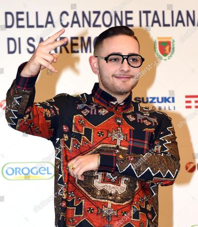 Italian Singer Rocco Hunt Poses During a Photocall Before a Press Conference During the 66th Festival of the Italian Song of San Remo in Sanremo Italy 11 February 2016 the 66th Edition of the Television Song Contest Runs From 09 to 13 February Italy Sanremo