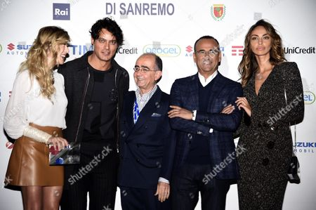 (l-r) Italian Actress Virginia Raffaele Italian Actor Gabriel Garko Rai Director Giancarlo Leone Italian Host Carlo Conti and Romanian Actress Madalina Ghenea Pose During a Photocall Before a Press Conference on the 66th Festival of the Italian Song of San Remo in Sanremo Italy 08 February 2016 the 66th Edition of the Television Song Contest Runs From 09 to 13 February Italy Sanremo
