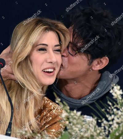 Italian Actor Gabriel Garko (r) Kisses Italian Actress Virginia Raffaele During a Press Conference During the 66th Festival of the Italian Song of San Remo in Sanremo Italy 13 February 2016 the 66th Edition of the Television Song Contest Runs From 09 to 13 February Italy Sanremo