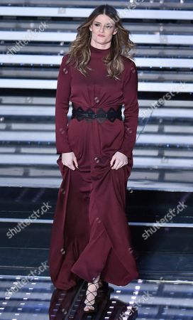 Italian Singer Irene Fornaciari Performs on Stage During the 66th Festival of the Italian Song of San Remo at the Ariston Theater in Sanremo Italy 12 February 2016 the 66th Edition of the Television Song Contest Runs From 09 to 13 February Italy Sanremo