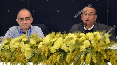 Italian Host Carlo Conti (r) and Rai1 Director Giancarlo Leone (l) Attend a Press Conference During the 66th Festival of the Italian Song of San Remo in Sanremo Italy 11 February 2016 the 66th Edition of the Television Song Contest Runs From 09 to 13 February Italy Sanremo