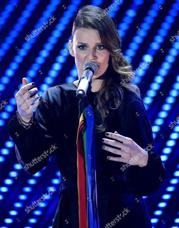 Stock Photo of Italian Singer Irene Fornaciari Performs on Stage During the Sanremo Italian Song Festival at the Ariston Theater in Sanremo Italy 10 February 2016 the 66th Festival Della Canzone Italiana Runs From 09 to 13 February Italy Sanremo