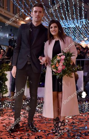 Italian Singers Giovanni Caccamo and Deborah Iurato (r) Arrive on the Red Carpet For the 66th San Remo Italian Song Festival Outside the Ariston Theatre in Sanremo Italy 08 February 2016 the Festival Will Run From 09 to 13 February Italy Sanremo