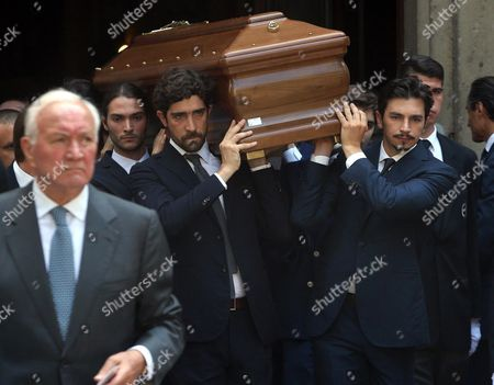 Stock Image of The Coffin Containing the Body of Marta Marzotto is Carried out of the Sant'angelo Church During the Funeral in Milan Italy 01 August 2016 Marta Marzotto an Italian Countess and Fashion Designer Died Aged 85 in Milan on 29 July Italy Milan