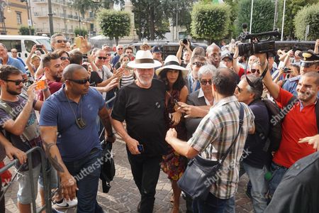 British Musician David Gilmour (c) Accompanied by His Wife Polly Samson (r) Arrives at the Headquarter of Pompeii's Municipality in Pompeii Italy 6 July 2016 Gilmour was Awarded Honorary Citizenship of Pompeii Italy Pompeii