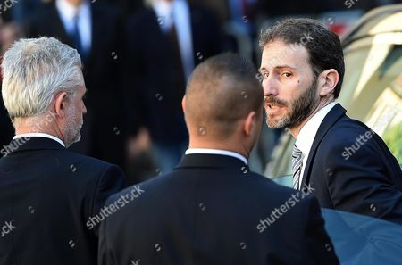 Davide Casaleggio (r) the Son of Late Gianroberto Casaleggio Attends the Funeral Ceremony For His Father at the Santa Maria Delle Grazie Church in Milan Italy 14 April 2016 Others Are not Identified Gianroberto Casaleggio the Co-founder of the Anti-establishment 5-star Movement (m5s) Died on 12 April 2016 in Milan at the Age Og 61 Italy Milan