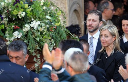Gianroberto Casaleggio's Widow Sabina Casaleggio (2-r) and Their Son Davide Casaleggio (3-r) Follow the Coffin After a Funeral Ceremony For Her Late Husband and Father at the Santa Maria Delle Grazie Church in Milan Italy 14 April 2016 Gianroberto Casaleggio the Co-founder of the Anti-establishment 5-star Movement (m5s) Died on 12 April 2016 in Milan at the Age Og 61 Italy Milan
