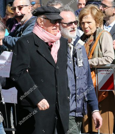 Italian Nobel Prize-winning Playwright Dario Fo (l) Arrives For the Funeral Ceremony For Gianroberto Casaleggio at the Santa Maria Delle Grazie Church in Milan Italy 14 April 2016 Gianroberto Casaleggio the Co-founder of the Anti-establishment 5-star Movement (m5s) Died on 12 April 2016 in Milan at the Age Og 61 Italy Milan