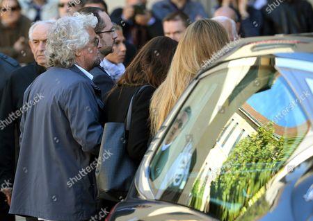 Five-star Movement Leader Beppe Grillo (l) Arrives For the Funeral Ceremony For Gianroberto Casaleggio at the Santa Maria Delle Grazie Church in Milan Italy 14 April 2016 Gianroberto Casaleggio the Co-founder of the Anti-establishment 5-star Movement (m5s) Died on 12 April 2016 in Milan at the Age Og 61 Italy Milan