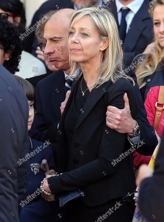 Gianroberto Casaleggio's Widow Sabina Casaleggio (c) is Comforted As She Attends the Funeral Ceremony For Her Late Husband at the Santa Maria Delle Grazie Church in Milan Italy 14 April 2016 Gianroberto Casaleggio the Co-founder of the Anti-establishment 5-star Movement (m5s) Died on 12 April 2016 in Milan at the Age Og 61 Italy Milan