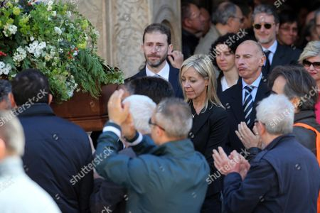 Gianroberto Casaleggio's Widow Sabina Casaleggio (c-r) and Their Son Davide Casaleggio (c) Along with Other Unidentified Guests Follow the Coffin After a Funeral Ceremony For Her Late Husband and Father at the Santa Maria Delle Grazie Church in Milan Italy 14 April 2016 Gianroberto Casaleggio the Co-founder of the Anti-establishment 5-star Movement (m5s) Died on 12 April 2016 in Milan at the Age Og 61 Italy Milan