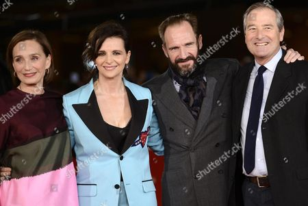 Stock Picture of (l-r) British Actress Kristin Scott-thomas French Actress Juliette Binoche British Actor Ralph Fiennes and British Actor Julian Wadham Arrive For the Screening of 'The English Patient' at the 11th Annual Rome Film Festival in Rome Italy 22 October 2016 the Film Festival Screened 'The English Patient' Directed by British Filmmaker Anthony Minghella (1954-2008) on the Occasion of 20th Anniversary of the Movie's Release the Festival Runs From 13 to 23 October Italy Rome