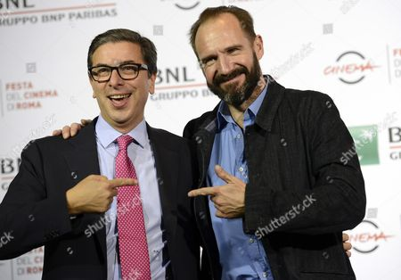 British Actor/cast Member Ralph Fiennes (r) and Film Festival Director Antonio Monda (l) Pose During the Photocall For the Movie 'The English Patient' (il Paziente Inglese) at the 11th Annual Rome Film Festival in Rome Italy 22 October 2016 the Film Festival Celebrates One of the Most Beloved of Cinema History 'The English Patient' by Anthony Minghella Released Twenty Years Ago (in 1996) the Festival Runs From 13 to 23 October Italy Rome