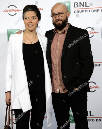 Stock Image of Mexican Director Jorge Michel Grau (r) and Producer Mayra Espinosa Castro (l) Pose During the Photocall For the Movie '7:19' at the 11th Annual Rome Film Festival in Rome Italy 16 October 2016 the Festival Runs From 13 to 23 October Italy Rome