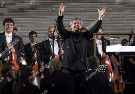 Members of the National Academy of Santa Cecilia Orchestra Conducted by Antonio Pappano (front) Stand on Stage During the Re-opening of the Spanish Steps in Piazza Di Spagna After a Year-long Refurbishment That Returned the Stairway to Its Original Splendor in Rome Italy 22 September 2016 Italy Rome