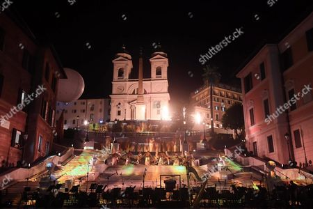 Dancers Perform Behind a Stage Prepared For the National Academy of Santa Cecilia Orchestra Conducted by Antonio Pappano at the the Re-opening Event For the Spanish Steps at Piazza Di Spagna After a Year-long Refurdishment That Returned the Stairway to Its Original Splendor in Rome Italy 22 September 2016 Italy Rome
