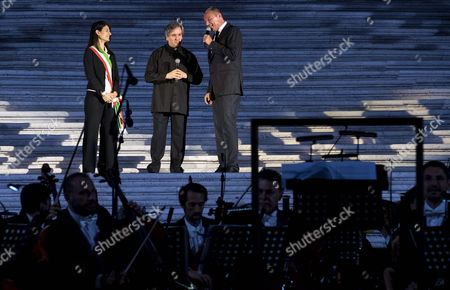 (l-r) Rome's Mayor Virginia Raggi Conductor Antonio Pappano and Bulgari Ceo Jean Cristophe Babin Stand on Stage Prior to the Event For the Re-opening of the Spanish Steps After a Year-long Refurbishment That Returned the Stairway to Its Original Splendor in Rome Italy 22 September 2016 Italy Rome