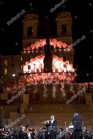 Members of the National Academy of Santa Cecilia Orchestra Conducted by Antonio Pappano Perform at the Re-opening Event For the Spanish Steps at Piazza Di Spagna After a Year-long Refurbishment That Returned the Stairway to Its Original Splendor in Rome Italy 22 September 2016 Italy Rome