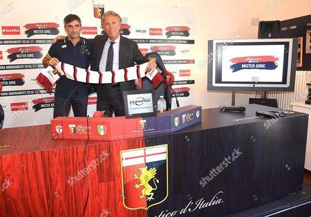Enrico Preziosi (r) President of Italian Serie a Soccer Club Genoa Cfc Presents the Club's New Coach Ivan Juric During a Press Conference in Genoa Italy 28 June 2016 Italy Genoa