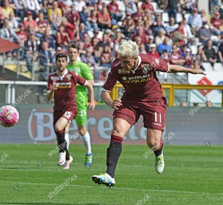 Torino's Maxi Lopez Scores a Goal During the Italian Serie a Soccer Match Torino Fc Vs Atalanta Bc at Olimpico Stadium in Turin Italy 10 April 2016 Italy Turin
