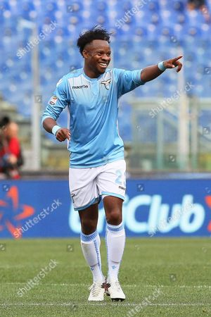 Lazio's Ogenyi Onazi Celebrates After Scoring the 2-0 Lead During the Italian Serie a Soccer Match Between Ss Lazio and Empoli Fc at Olimpico Stadium in Rome Italy 17 April 2016 Italy Rome