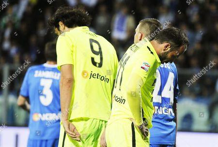 Hellas Verona Forwards Giampaolo Pazzini (r) and Luca Toni (l) React During the Italian Serie a Soccer Match Between Empoli Fc and Hellas Verona at Carlo Castellani Stadium in Empoli Italy 20 April 2016 Italy Empoli