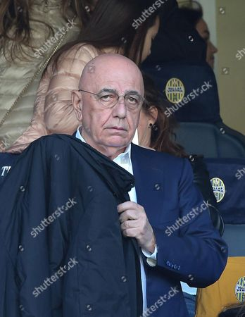 Milan'?s Ceo Adriano Galliani in the Stands During the Italian Serie a Soccer Match Between Hellas Verona and Ac Milan at Bentegodi Stadium Verona Italy 25 April 2016 Italy Verona