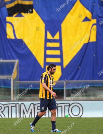 Hellas Verona's Luca Toni Reacts at the End of the Italian Serie a Soccer Match Between Hellas Verona Fc and Frosinone Calcio at Bentegodi Stadium in Verona Italy 17 April 2016 Frosinone Won 2-1 Italy Verona