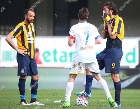 Hellas Verona Players Luca Toni (r) and Giampaolo Pazzini (l) React After Frosinone's Alessandro Frara (c) Scored the Winning Goal During the Italian Serie a Soccer Match Between Hellas Verona Fc and Frosinone Calcio at Bentegodi Stadium in Verona Italy 17 April 2016 Frosinone Won 2-1 Italy Verona