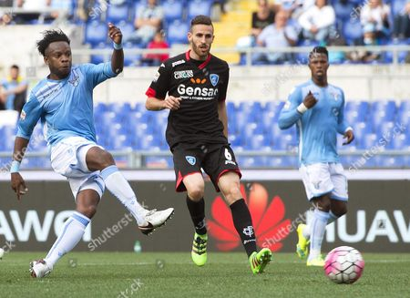 Lazio's Ogenyi Onazi (l) Scores the 2-0 Lead During the Italian Serie a Soccer Match Between Ss Lazio and Empoli Fc at Olimpico Stadium in Rome Italy 17 April 2016 Italy Rome