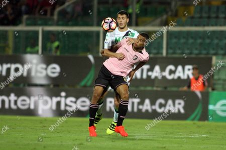 Palermo's Robin Quaison and Sassuolo's Luca Antei in Action During the Italian Serie a Soccer Match Us Palermo Vs Us Sassuolo at Renzo Barbera Stadium in Palermo Italy 21 August 2016 Italy Palermo