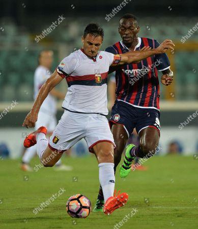 Crotone's Simy (r) and Genoa's Nicolas Burdisso in Action During the Italian Serie a Soccer Match Fc Crotone Vs Genoa Cfc at Adriatico Stadium in Pescara Italy 28 August 2016 Italy Pescara