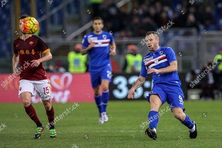 Sampdoria's Antonio Cassano (r) in Action During the Italian Serie a Soccer Match As Roma Vs Uc Sampdoria at Olimpico Stadium in Rome Italy 07 February 2016 Italy Rome
