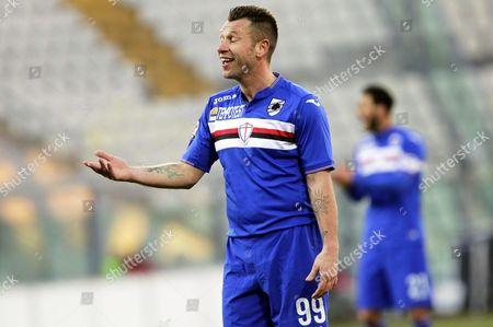 Sampdoria's Antonio Cassano Reacts During the Italian Serie a Soccer Match Between Carpi Fc and Uc Sampdoria at Alberto Braglia Stadium in Modena Italy 17 January 2016 Italy Modena