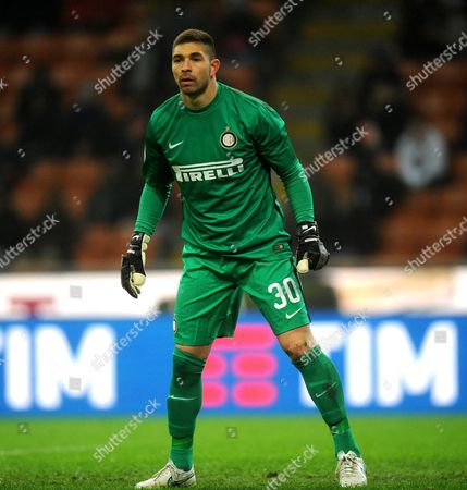 Stock Picture of Inter's Goalkeeper Juan Pablo Carrizo During the Serie a Soccer Match Between Inter Milan and Palermo at the Giuseppe Meazza Stadium in Milan Italy 06 March 2016 Italy Milan