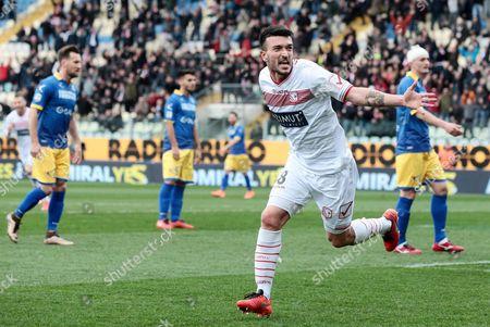 Carpi's Raffaele Bianco Jubilates After Scoring a Goal During the Italian Serie a Soccer Match Carpi Fc Vs Frosinone Calcio at Alberto Braglia Stadium in Modena Italy 13 March 2016 Italy Modena