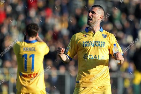 Frosinone's Aleandro Rosi Greets the Fans During the Italian Serie a Soccer Match Between Frosinone Calcio and Udinese Calcio at the Matusa Stadium in Frosinone Italy 06 March 2016 Italy Frosinone