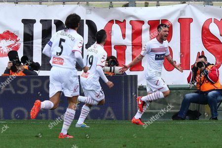 Carpi's Raffaele Bianco (r) Jubilates After Scoring a Goal During the Italian Serie a Soccer Match Carpi Fc Vs Frosinone Calcio at Alberto Braglia Stadium in Modena Italy 13 March 2016 Italy Modena