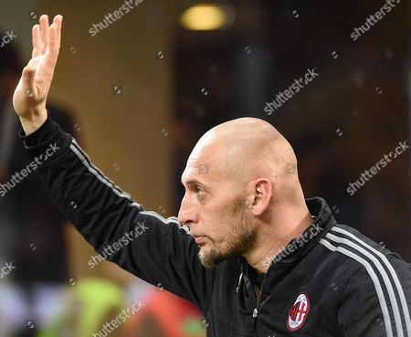 Stock Picture of Milan's Goalkeeper Christian Abbiati who Has Announced His Retirement Greets His Supporters Prior to the Serie a Soccer Match Between Ac Milan and As Roma at the Giuseppe Meazza Stadium in Milan Italy 14 May 2016 Italy Milan
